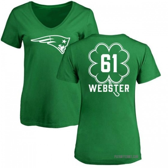 online store d92dc f949f Women's Ken Webster New England Patriots Green St. Patrick's Day Name &  Number V-Neck T-Shirt